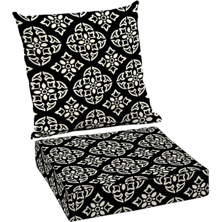 Better homes and gardens outdoor patio deep seat cushion set black white medallion for Better homes and gardens deep seat cushion