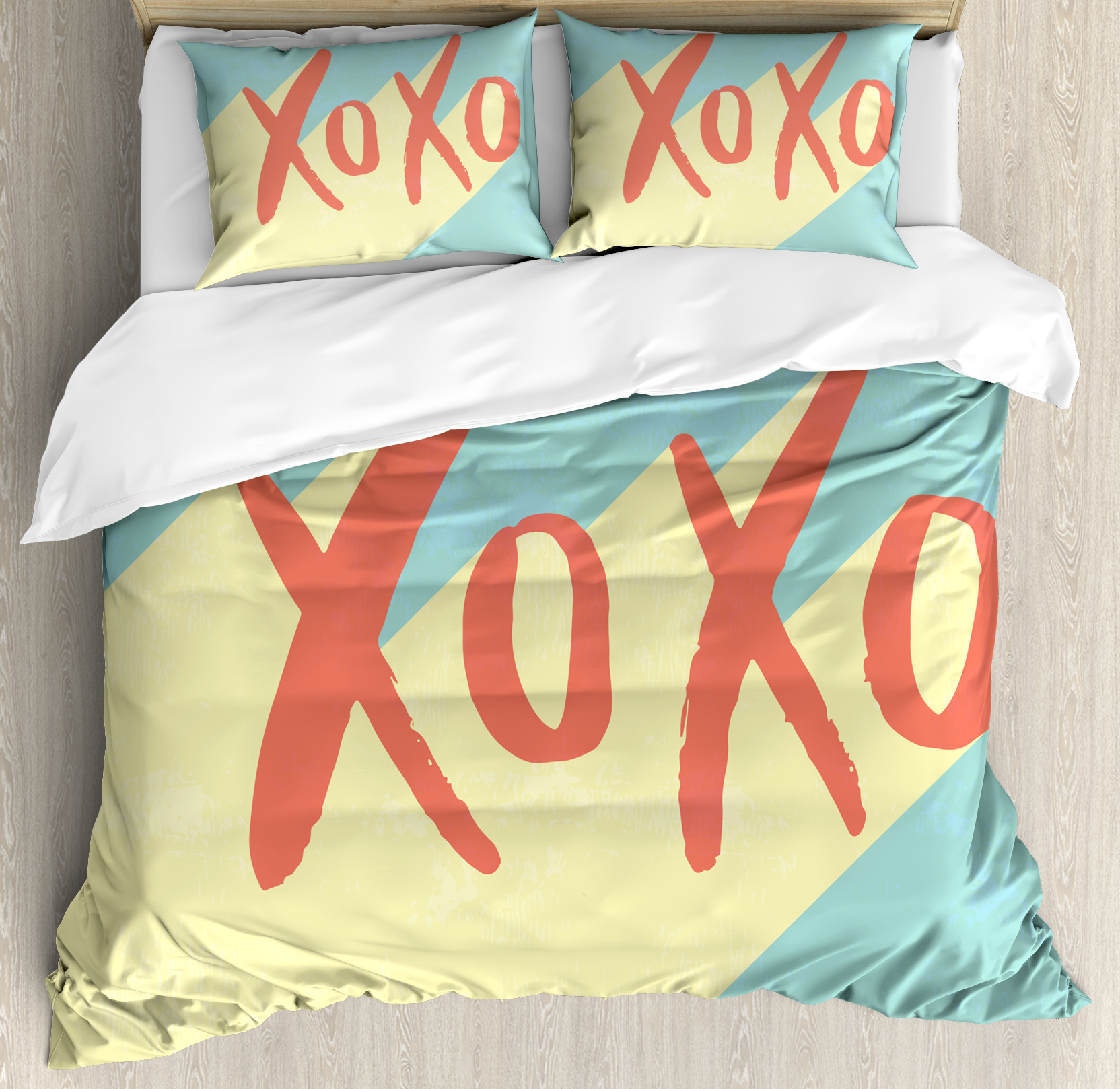 Xo Decor King Size Duvet Cover Set, Pop Art Retro Hugs and Kisses Symbol on Vibrant Illustration, Decorative 3 Piece Bedding Set with 2 Pillow Shams, Turquoise Dark Coral Yellow, by Ambesonne