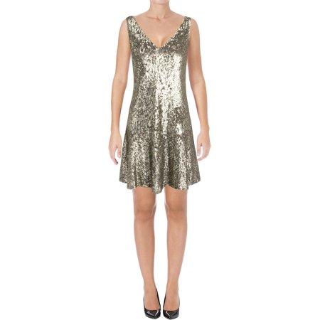 Lauren Ralph Lauren Womens Sequined Double-V Party - Pewter Dress