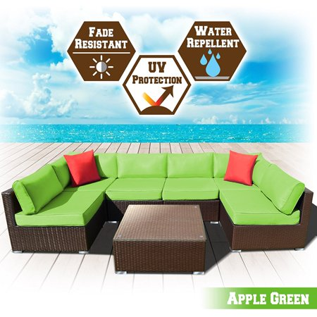 Strong Camel Rattan Wicker Patio Sectional Sofcushion Apple Green