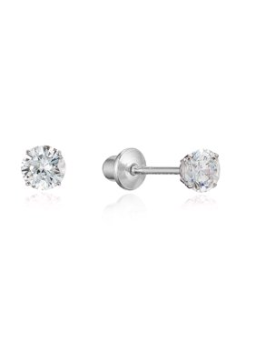 d9f5477e5 Product Image Sterling Silver Rhodium Plated 3mm Cubic Zirconia Stud  Children Screwback Baby Girls Earrings