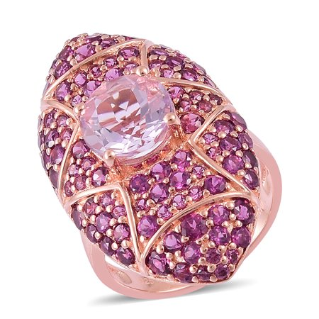 Pink Amethyst Rhodolite Garnet Rose Gold Plated Silver Cluster Gift Ring For Women 5.8 Cttw
