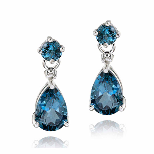 3.6 Carat T.G.W. London Blue Topaz and Diamond Accent Sterling Silver Teardrop Earrings
