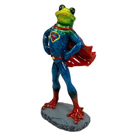 Atlantic Collectibles Superhero Superman Frog In Muscle Outfit Decorative Figurine - Superhero Figurines