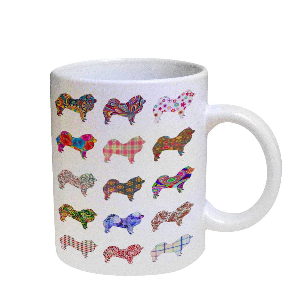 KuzmarK Coffee Cup Mug Pearl Iridescent White - Chow Chow Dog