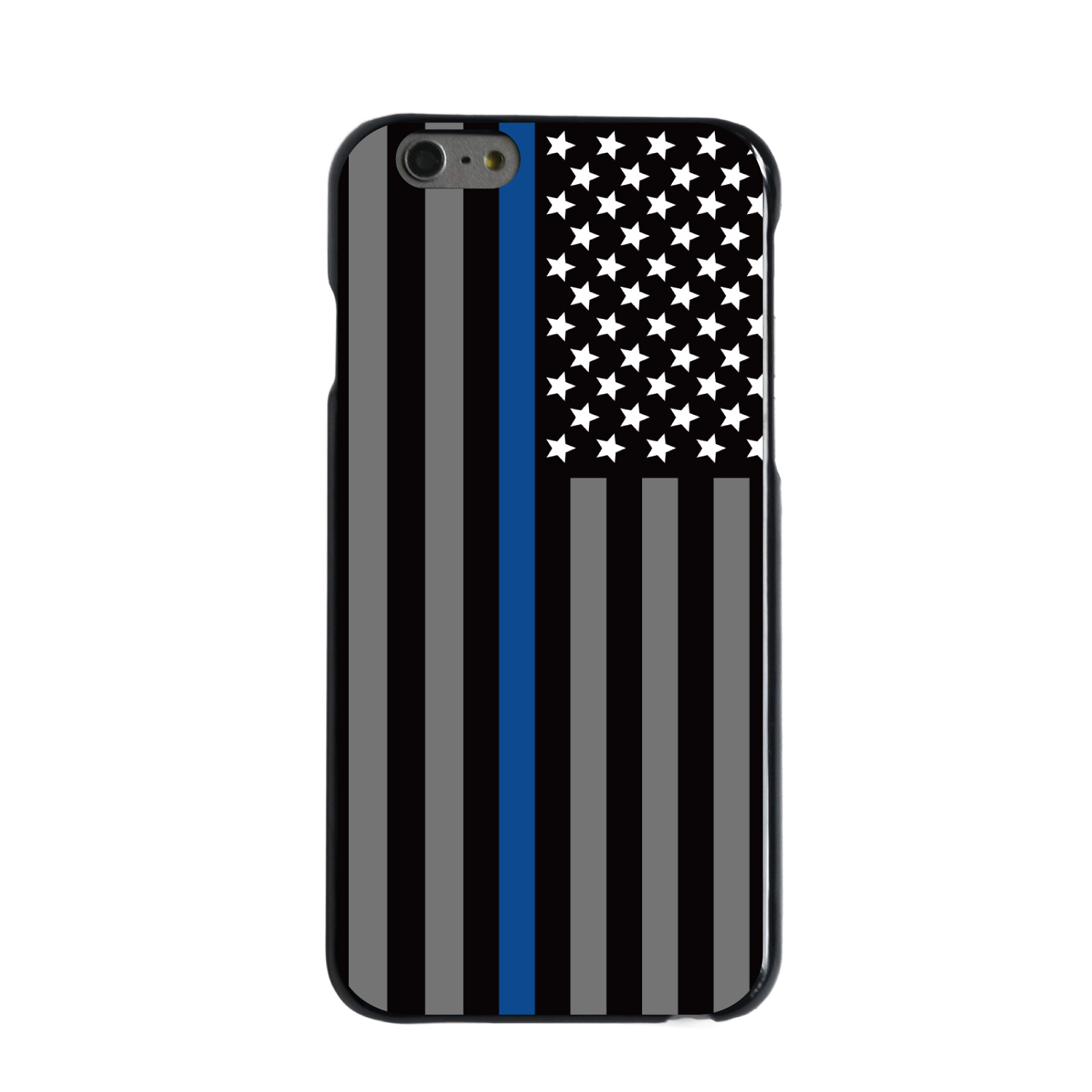"CUSTOM Black Hard Plastic Snap-On Case for Apple iPhone 6 / 6S (4.7"" Screen) - Thin Blue Line US Flag Law Enforcement"