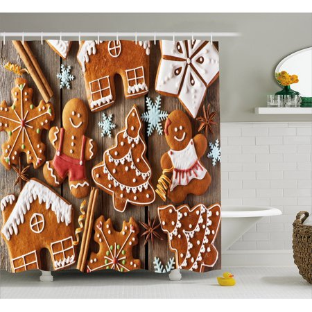 Gingerbread Man Shower Curtain Tasty Looking Traditional Cookies Little Snowflakes Cinnamon Fabric Bathroom Set With Hooks Umber Pale Brown White