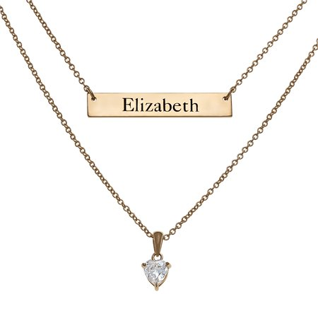 Personalized Women's Sterling Silver or Gold over Silver Engraved Bar & Birthstone Layered Necklace, 16