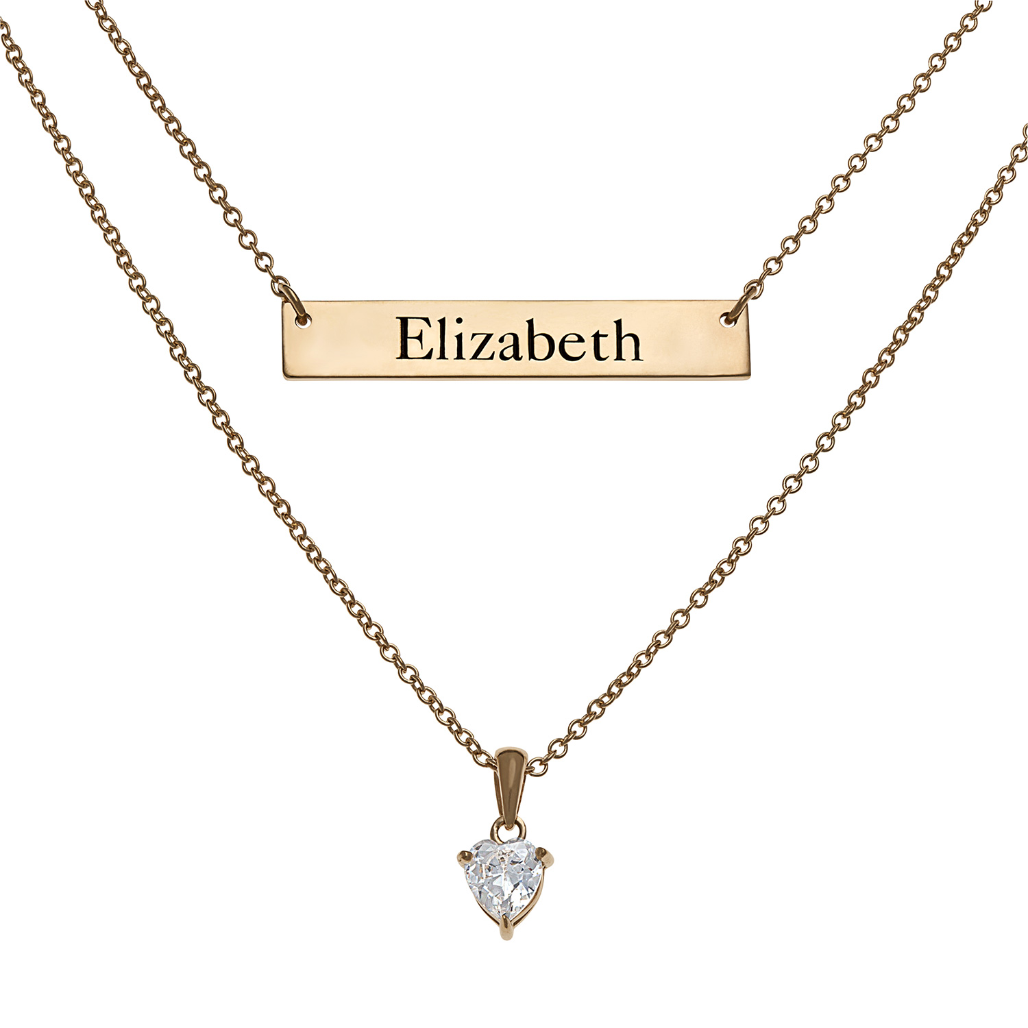 """Personalized Women's Sterling Silver or Gold over Silver Engraved Bar & Birthstone Layered Necklace, 16"""" & 20"""""""