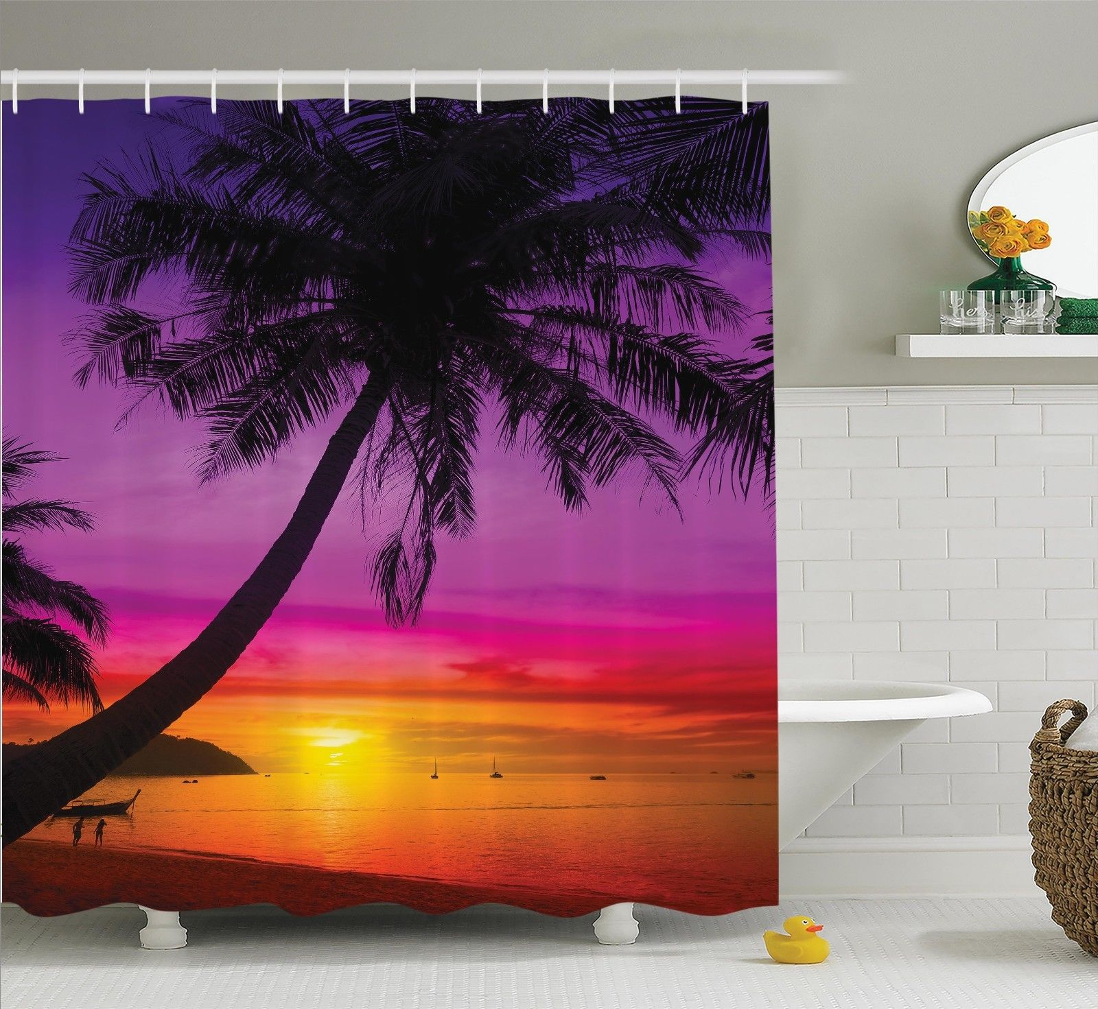 Palm Tree on Tropical Beach Sunset Summertime Travel Theme Shower Curtain Set