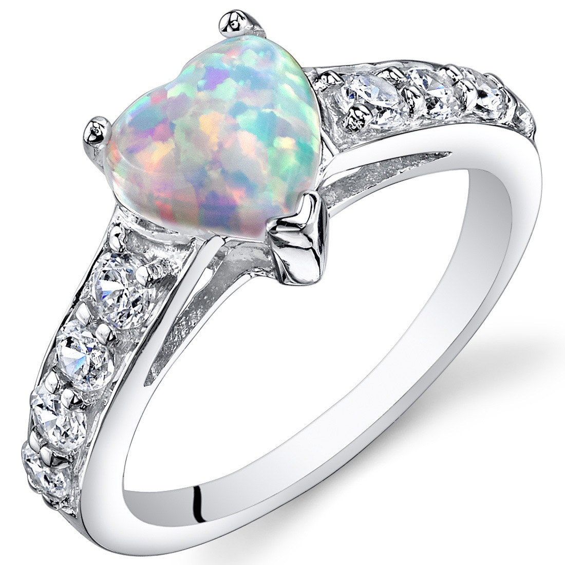 Peora 1.00 Ct Heart Shape Created Opal Ring in Rhodium-Plated Sterling Silver