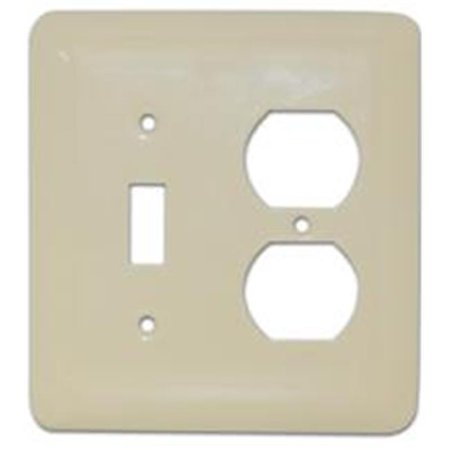 Morris Products 83672 Stainless Steel Metal Wall Plates Midsize 2 Gang 1Toggle 1Duplex White - image 1 of 1