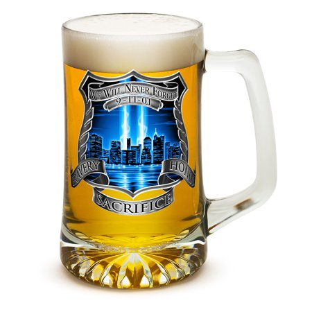 Beer Mugs with Handles – Law Enforcement Tankard Beer Mug – Police Officer Gifts for Men or Women – Tribute High Honor Police Beer Glasses with Logo – Set of 2 (25 Ounces)