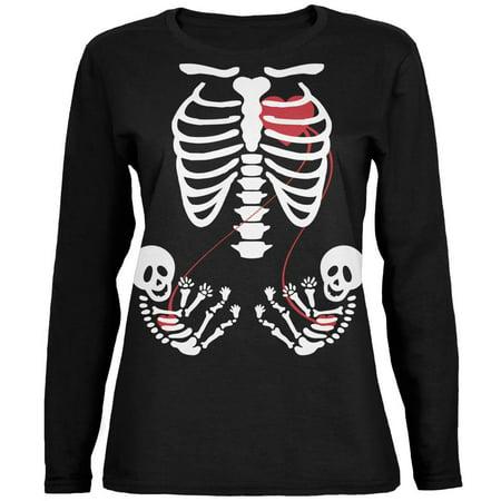 Halloween Twin Baby Skeletons Black Womens Long Sleeve T-Shirt