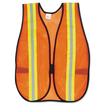 Click here to buy Orange Safety Vest, 2 in. Reflective Strips, Polyester, Side Straps, One Size, Sold as 1 Each.