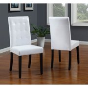Urban Tufted Parsons Chairs in White Finish - Set of 2