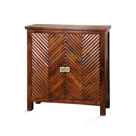 GwG Outlet Two Door Cabinet in Red Mahogany Stain Finish