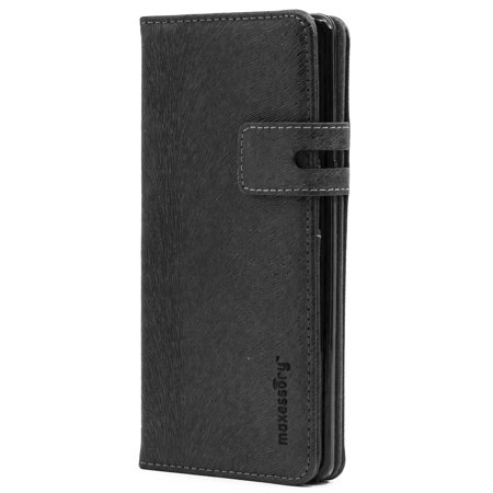 Galaxy Note 8 Case, Maxessory Executive Luxury Premium Real Genuine Leather Wallet Folio Protector Carrying Cover w/ Folding Credit Card Holder