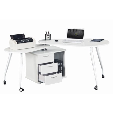 Cool Techni Mobili Rotating Computer Desk With Storage White Box 1 Of 2 Download Free Architecture Designs Grimeyleaguecom