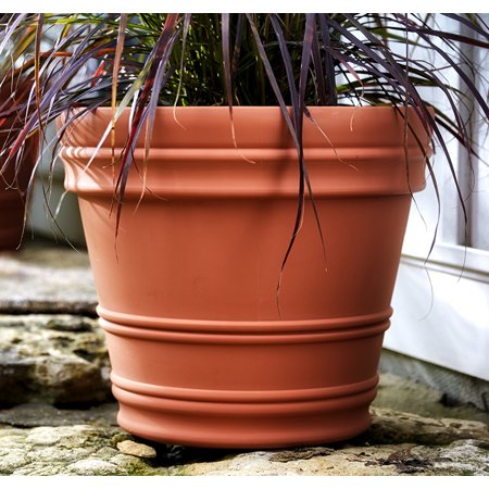 "Bloem Rolled Rim Planter 12"" Terra Cotta"