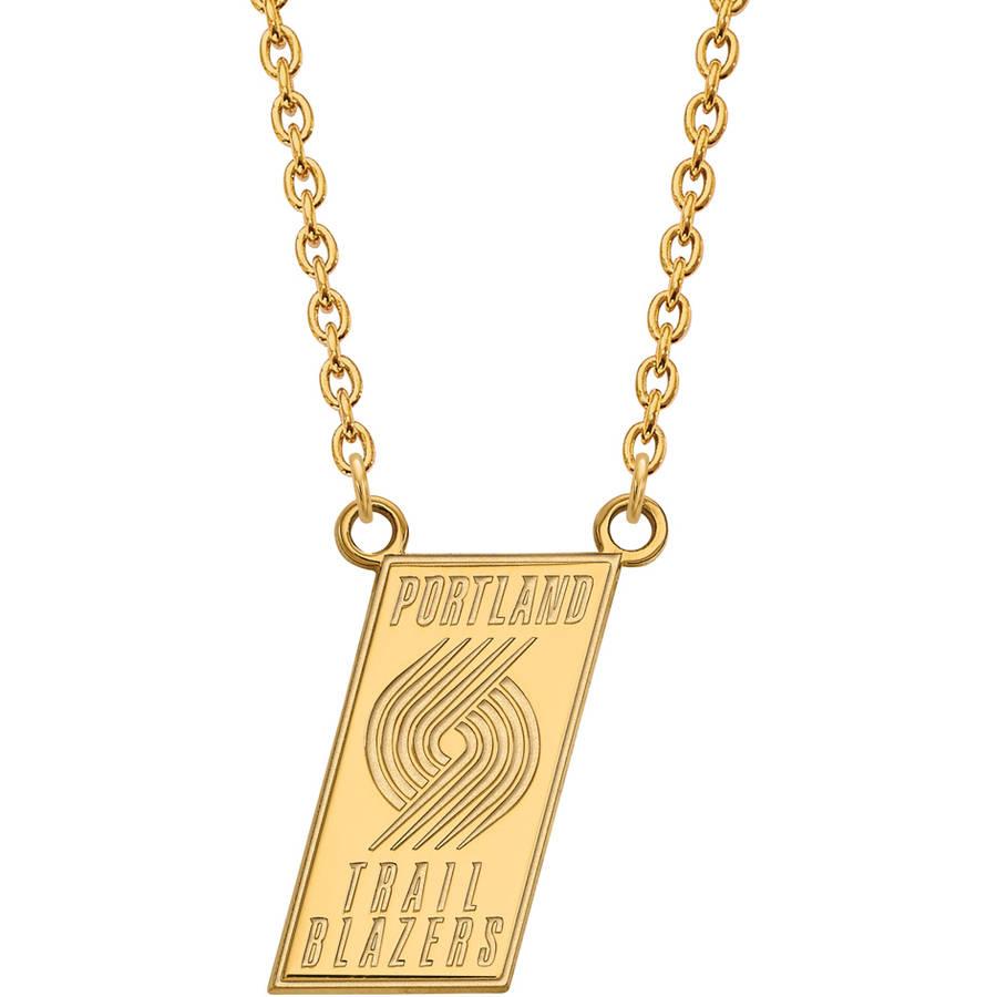 LogoArt NBA Portland Trail Blazers 10kt Yellow Gold Large Pendant with Necklace