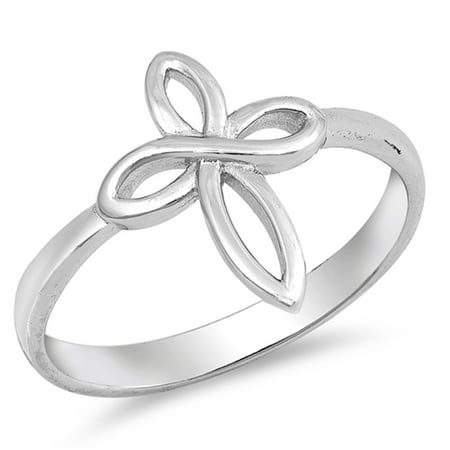 Infinity Love Knot Cross Christian Ring New .925 Sterling Silver Band Size 10 Cross 925 Silver Ring
