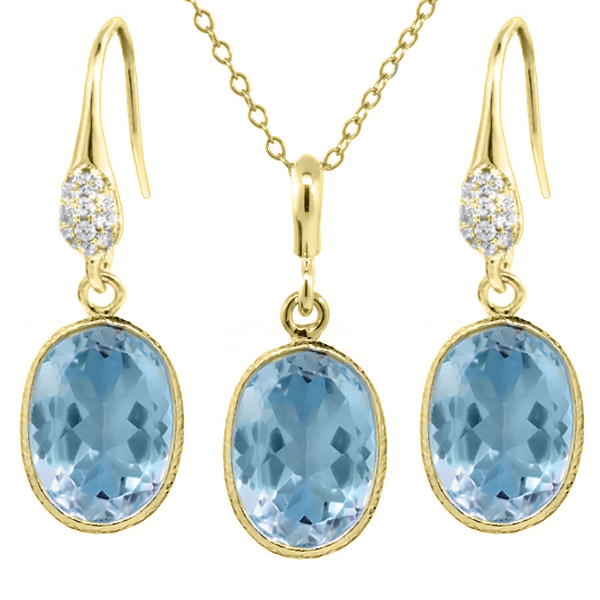 "21.00 Ct Blue Topaz 14x10mm Oval Shape Gold Plated Silver Jewelry Set 18"" Chain by"