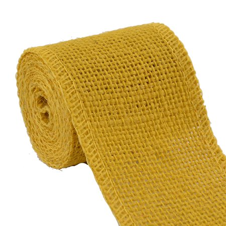 Unique Bargains 2.2 Yard Yellow Wedding Jute Belt Cord Rope String Wrap Strap Handcraft Burlap Ribbon