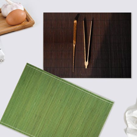 CUH Set of 4 Placemats Bamboo Dinning Table Kitchen Serving Place-mats Roll up Wood Mat Sushi - Raffia Table Mats