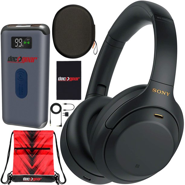 Sony WH-1000XM4 Wireless Industry Leading Noise Cancelling Over-Ear Headphones with Mic for Hands Free Calling and Alexa, Black WH-1000XM4/B Bundle w/ Case + Deco Gear Power Bank Charger + Gym Bag