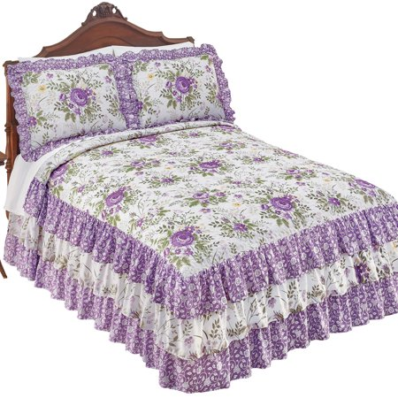 Country Purple Floral 3-Tier Ruffled Bedspread with Quilted Top - Seasonal Bedding, Queen, Lavender ()