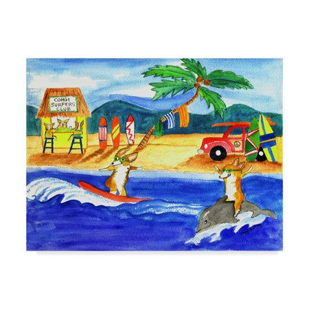 Trademark Fine Art 'Corgi Surfers Club' Canvas Art by Cheryl Bartley
