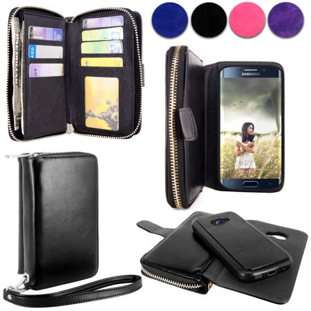 new concept 50a51 fe2d1 Galaxy S6 Edge Case, Cellularvilla [Zipper Wallet] [Purse] PU Leather Flip  Wallet Case [7 Card Slots] [Magnetic Detachable] Shockproof Back Protective  ...
