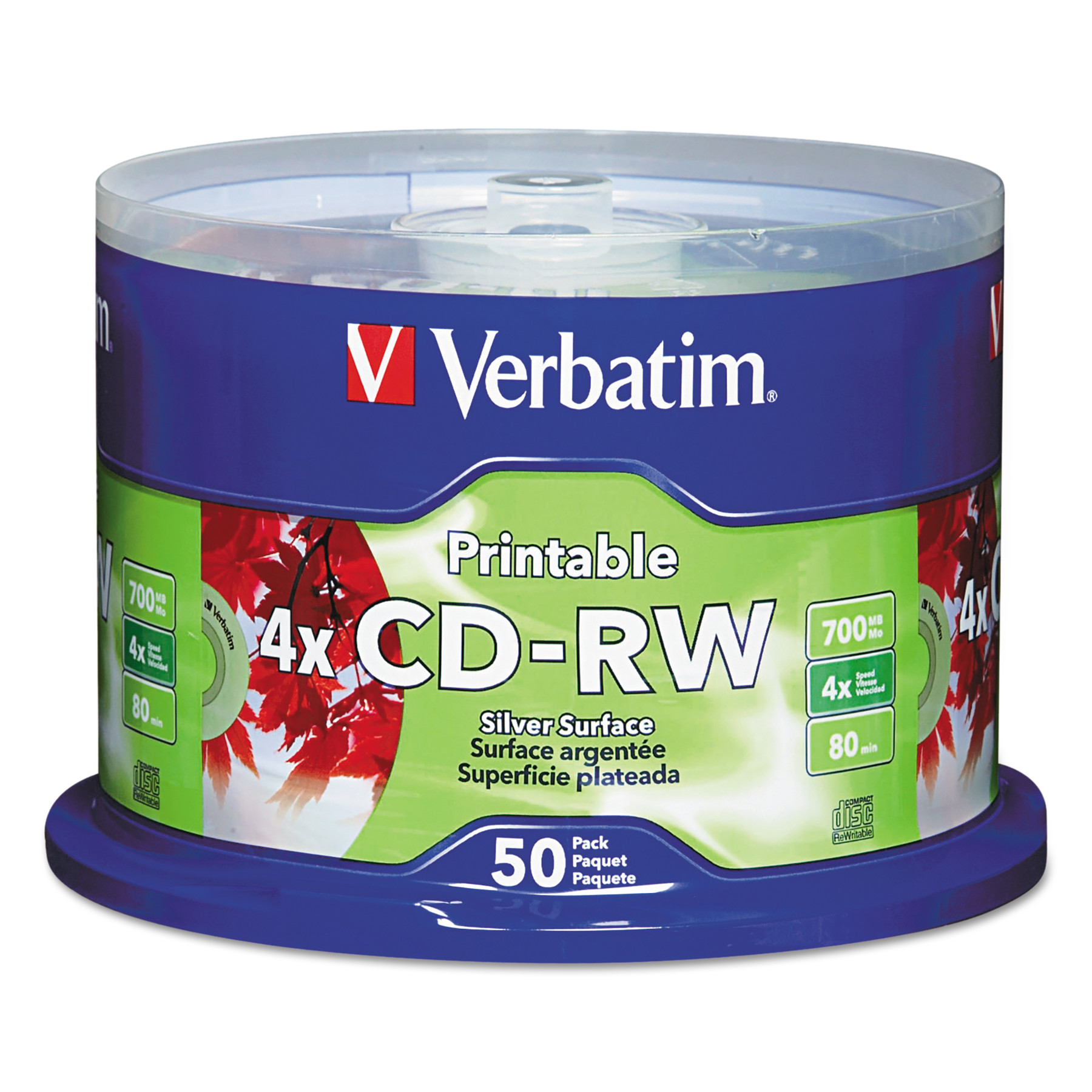 Verbatim CD-RW Discs, Printable, 700MB/80min, 4x, Spindle, Silver, 50/Pack -VER95159