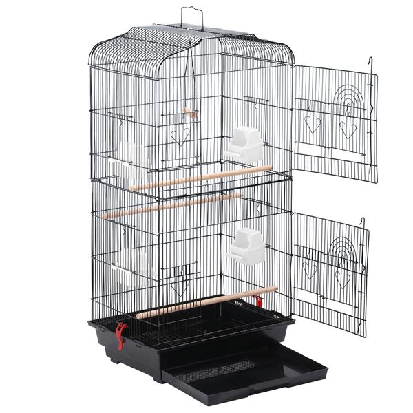 Yaheetech Large Metal Bird Cage Budgie Parrot Canary Cockatiel 18x14x36'' Black