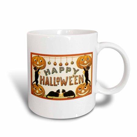3dRose Vintage Happy Halloween Jack O Lanterns and Black Cats, Ceramic Mug, 15-ounce
