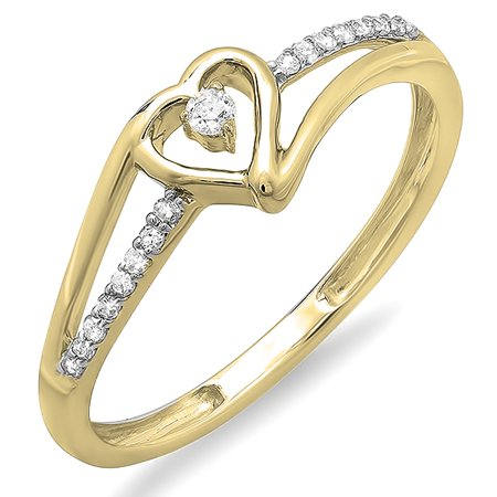 Dazzlingrock Collection 0.09 Carat (ctw) 10K Round Diamond Ladies Bridal Promise Heart Engagement Ring, Yellow Gold, Size 4