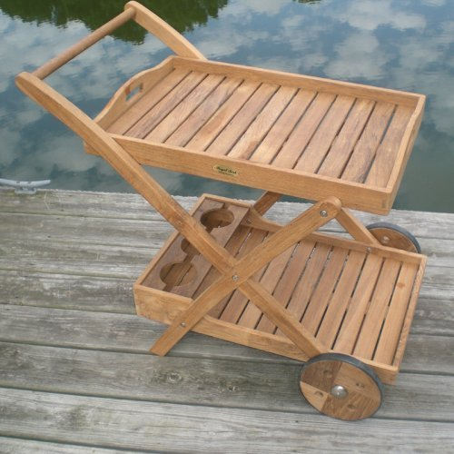 Royal Teak Serving Cart with Removable Tray