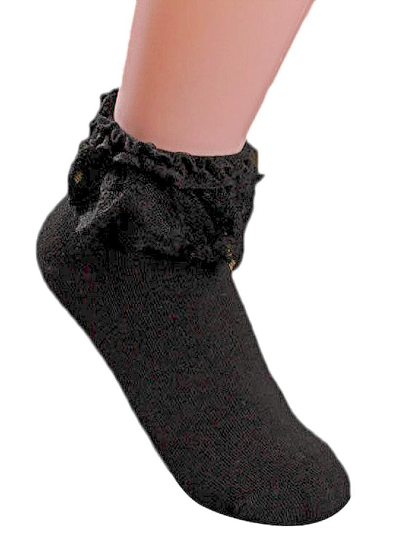 AM Landen Women's Black Lace Ruffle Frilly Cotton Socks Princess Socks Ankle Socks