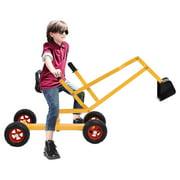 Steel Frame Kid Ride-on Sand Digger Heavy Duty Digging Scooper 4-wheel Toy Excavator