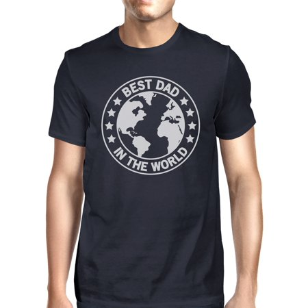 World Best Dad Mens Navy Graphic Tee Funny Dad Gift For Fathers
