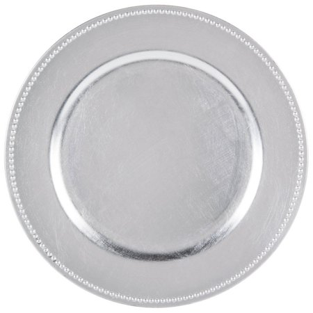 Silver Plate Chargers (Round Charger Beaded Dinner Plates, Silver 13 inch, Set of 1,2,4,6, or 12)