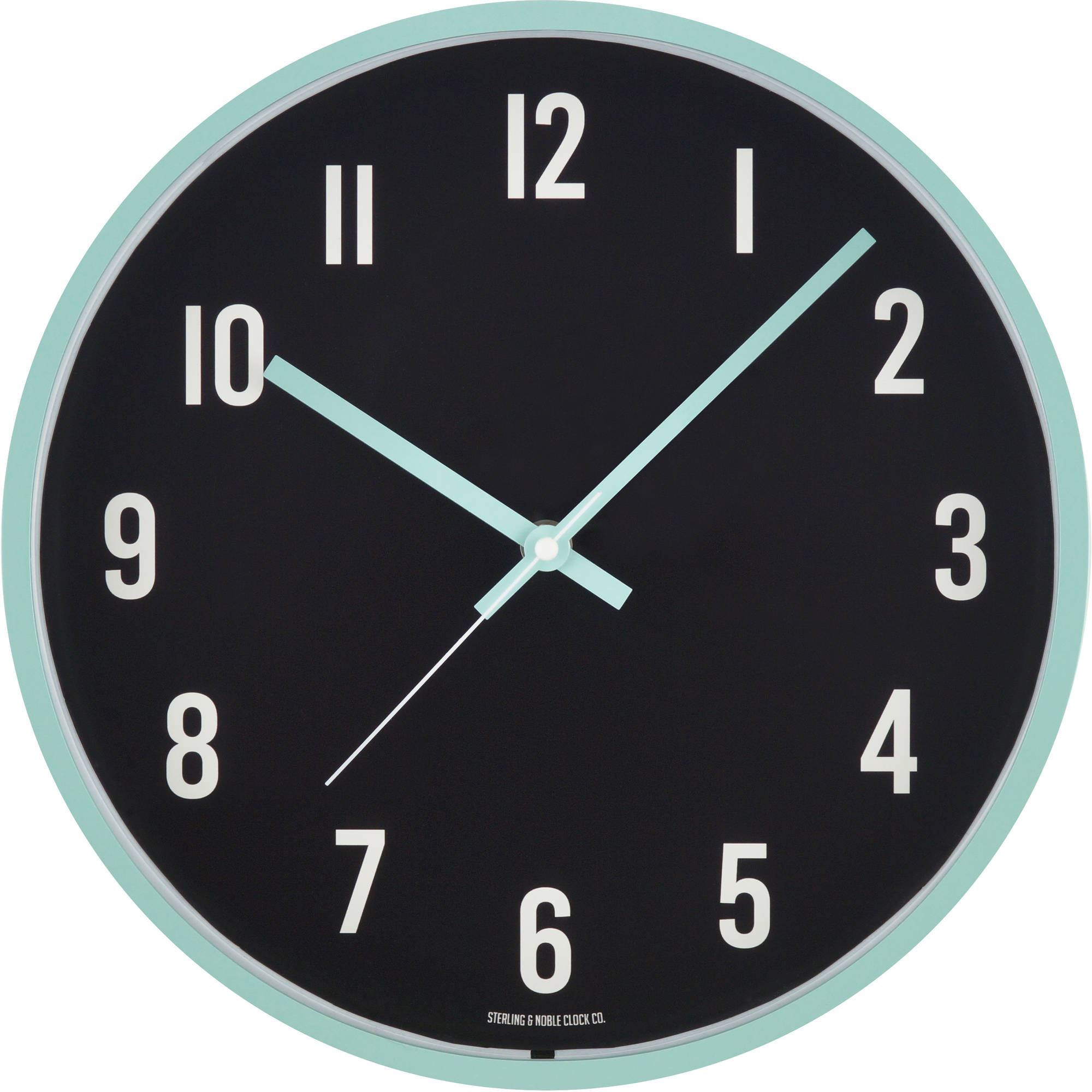 "Mainstays 11.5"" Mint and Black Wall Clock"