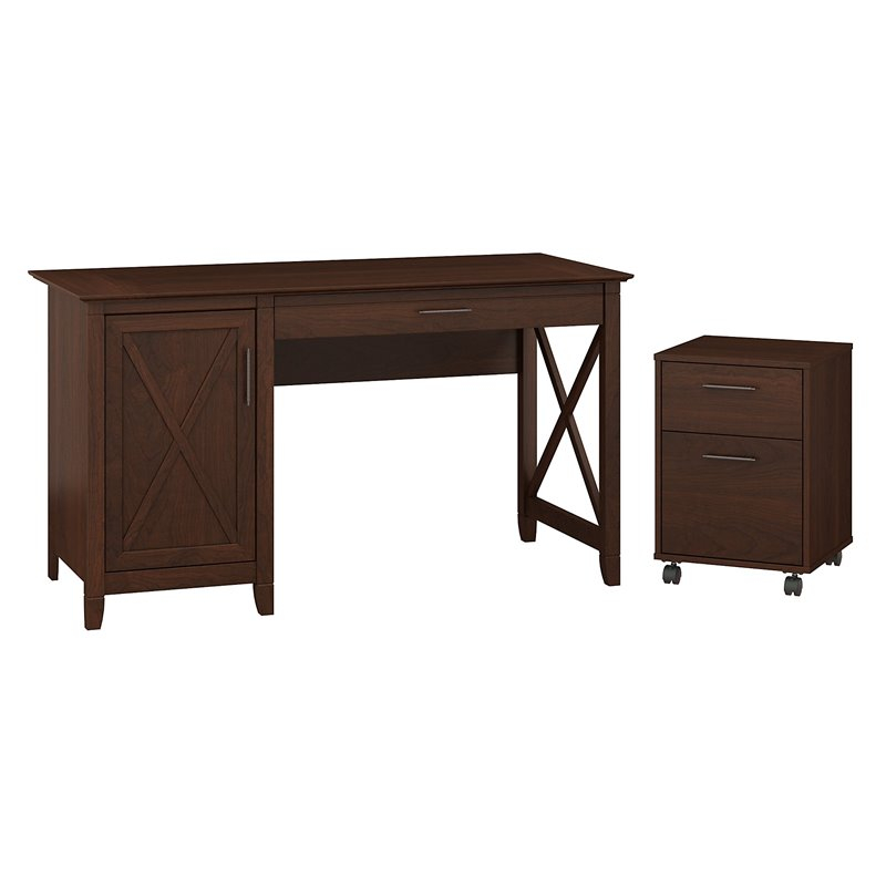 Key West Computer Desk With Storage And Mobile File Cabinet In Cherry