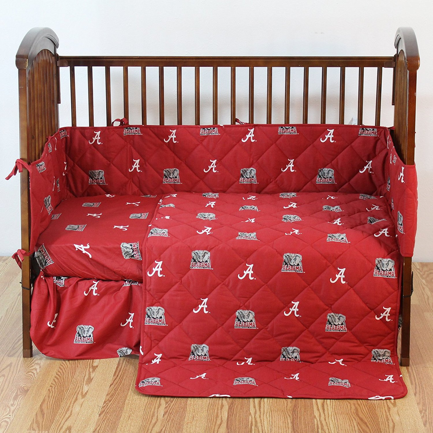 NCAA Alabama Tide 5 Piece Crib Bedding Set, 52' x 28' x 6', Crimson