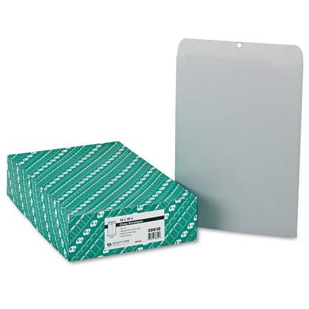 Quality Park Clasp Envelope, 12 x 15 1/2, 28lb, Executive Gray, 100/Box