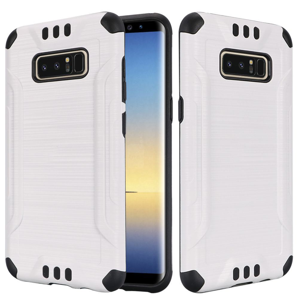 Kaleidio Case For Samsung Galaxy Note 8 [Combat Armor] Protective Brushed Metallic [Shockproof] Impact Hybrid Cover w/ Overbrawn Prying Tool [White/Black]