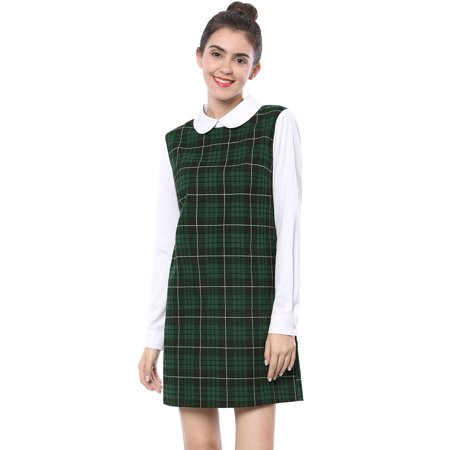 Women's Contrast Peter Pan Long Sleeve Check Christmas Dress  Green XL (US 18)](Peter Pan Outfits)