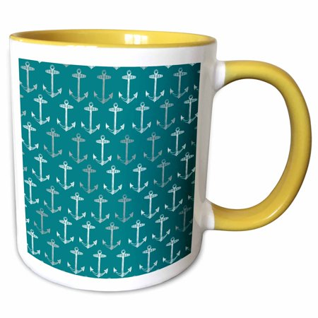 3dRose Teal blue anchor pattern - Vintage nautical turquoise sailor theme - aqua sea ocean ship anchors - Two Tone Yellow Mug, 11-ounce