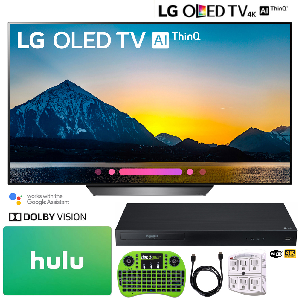 "LG OLED55B8PUA 55"" Class B8 OLED 4K HDR AI Smart TV (2018) + LG UBK90 Streaming 4k Ultra-HD Blu-Ray Player w/ Dolby Vision + Hulu $100 Gift Card"